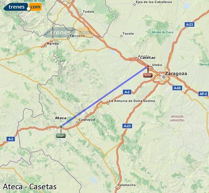 Karte vergrößern Züge Ateca Casetas