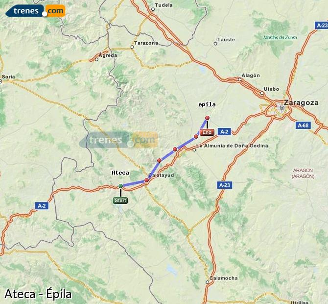 Enlarge map Trains Ateca to Epila