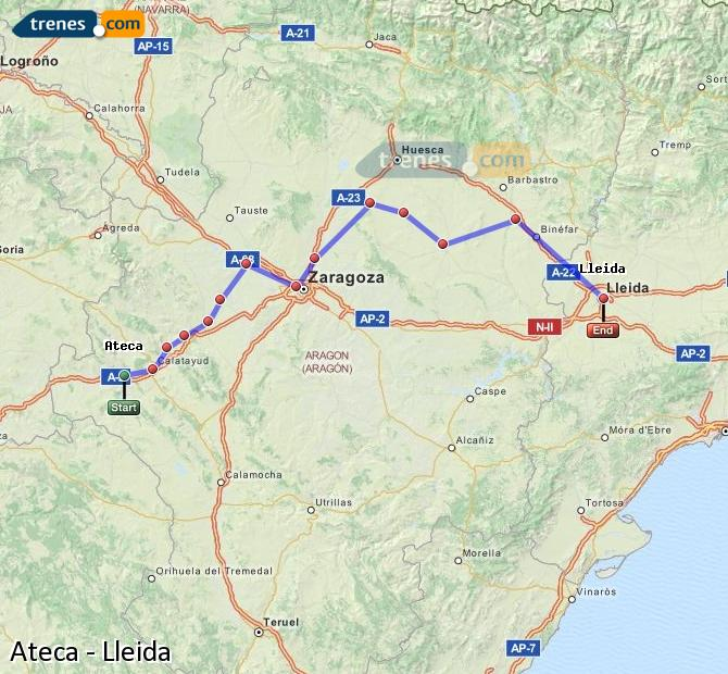 Karte vergrößern Züge Ateca Lleida