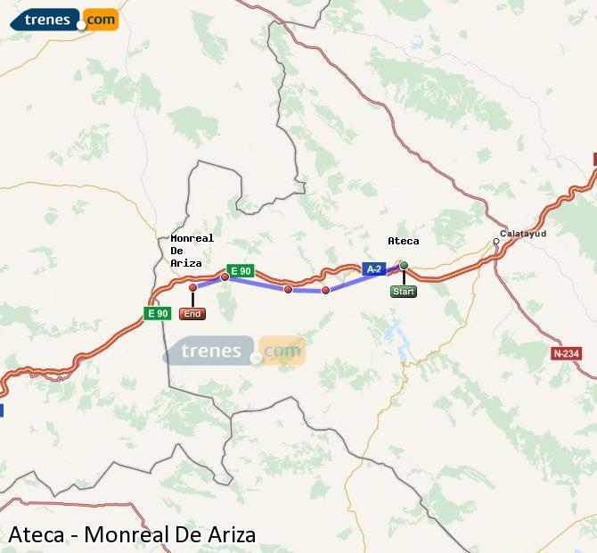 Ingrandisci la mappa Treni Ateca Monreal De Ariza