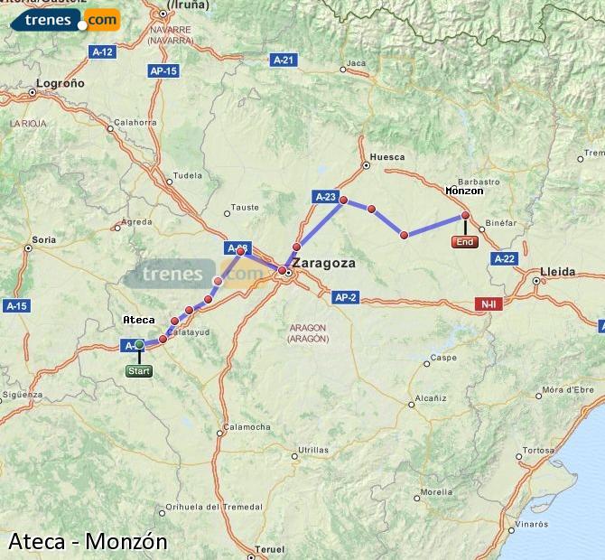 Ingrandisci la mappa Treni Ateca Monzón