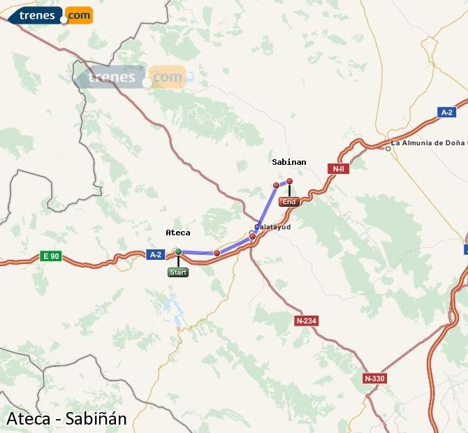Ingrandisci la mappa Treni Ateca Sabiñán