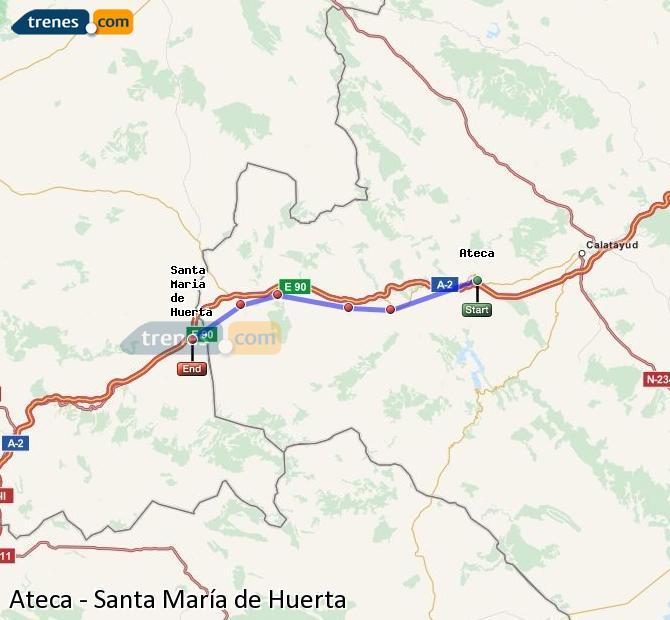 Ingrandisci la mappa Treni Ateca Santa María de Huerta