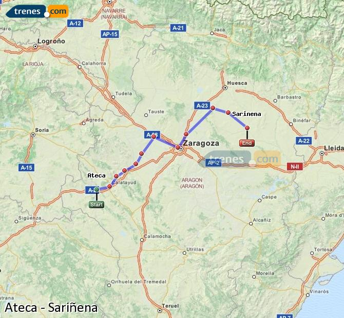 Ingrandisci la mappa Treni Ateca Sariñena
