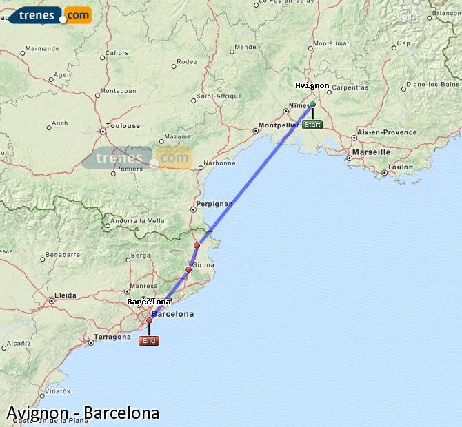 Enlarge map Trains Avignon to Barcelona