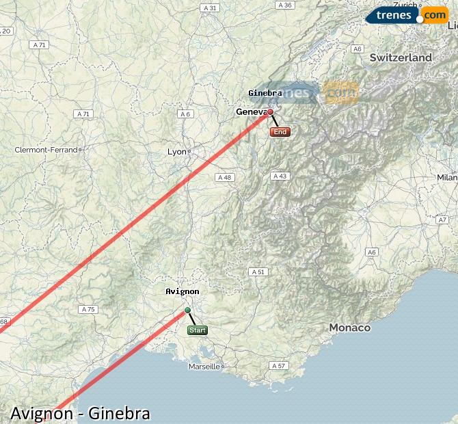Ampliar mapa Comboios Avignon Genebra
