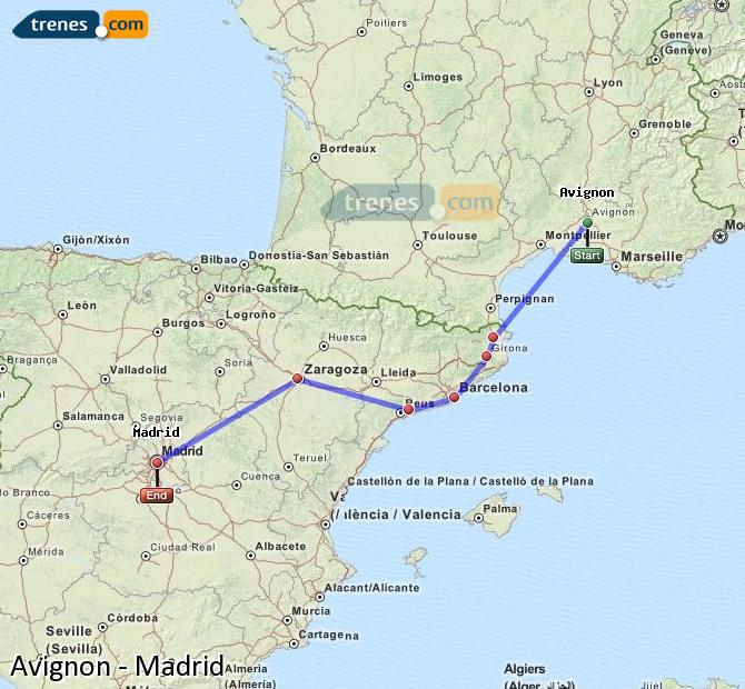Enlarge map Trains Avignon to Madrid