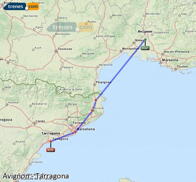 Enlarge map Trains Avignon to Tarragona