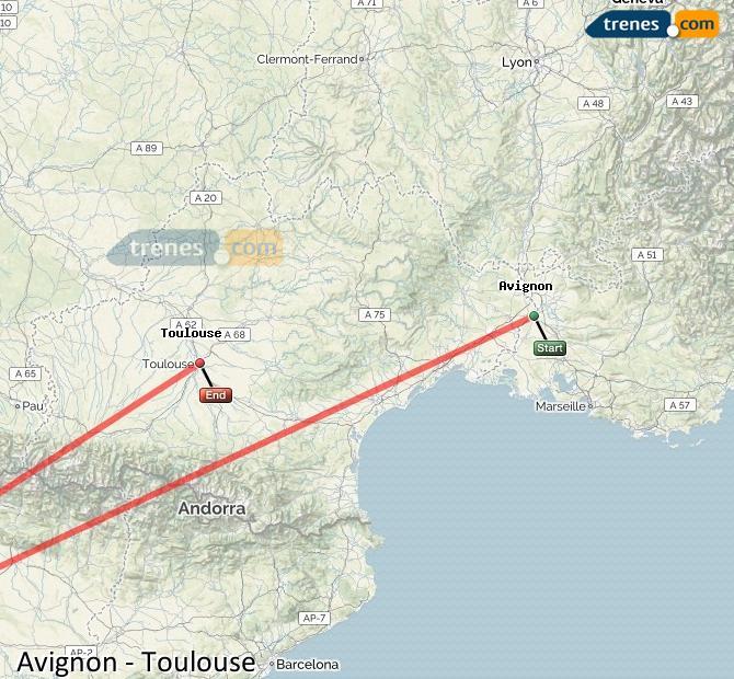 Karte vergrößern Züge Avignon Toulouse