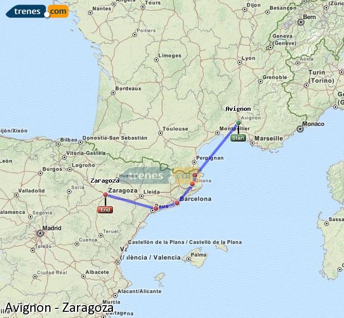 Agrandir la carte Trains Avignon Zaragoza