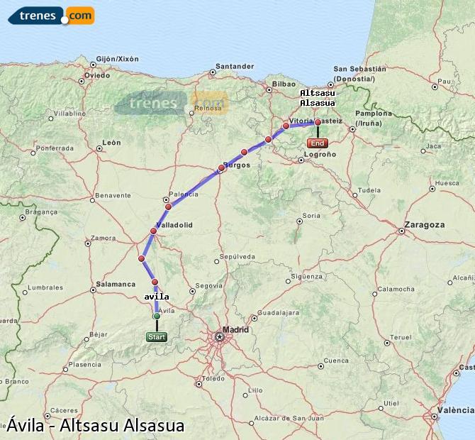 Ampliar mapa Trenes Ávila Altsasu Alsasua