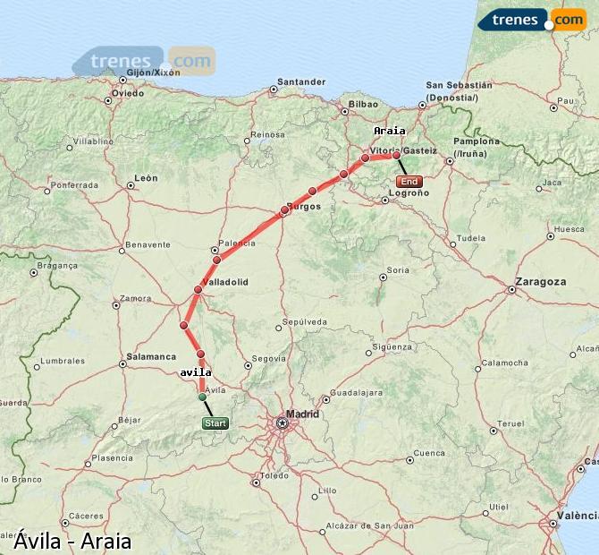 Karte vergrößern Züge Ávila Araia