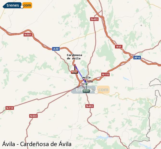 Karte vergrößern Züge Ávila Cardeñosa de Ávila
