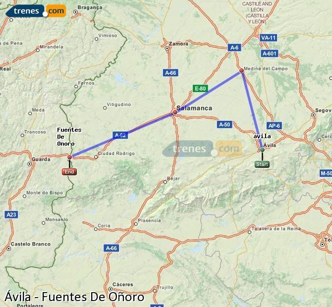 Enlarge map Trains Avila to Fuentes De Oñoro