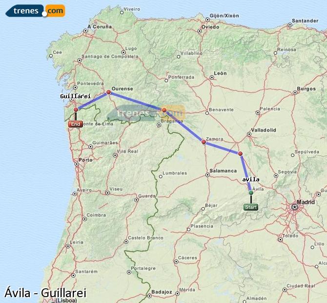 Ingrandisci la mappa Treni Ávila Guillarei