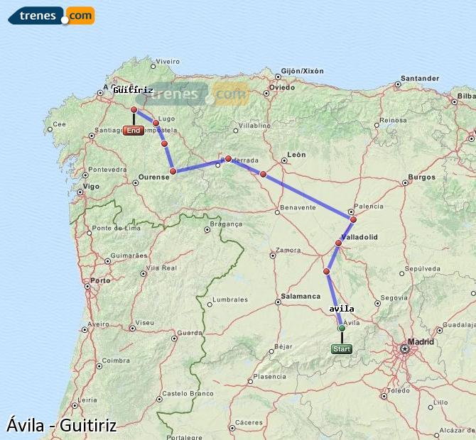 Ingrandisci la mappa Treni Ávila Guitiriz