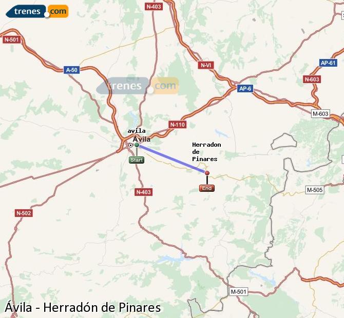 Karte vergrößern Züge Ávila Herradón de Pinares