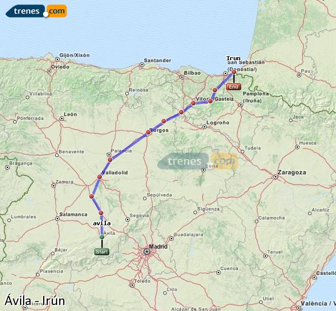Enlarge map Trains Avila to Irun