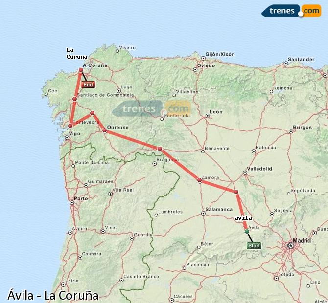 Ampliar mapa Trenes Ávila La Coruña