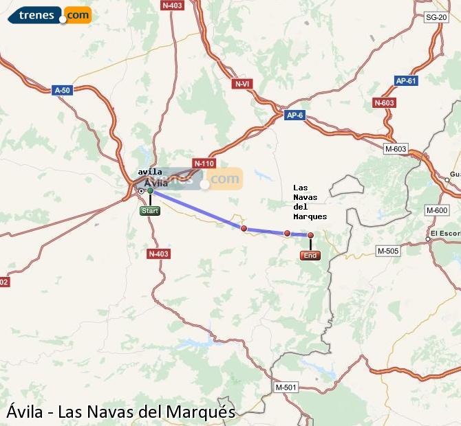 Ingrandisci la mappa Treni Ávila Las Navas del Marqués