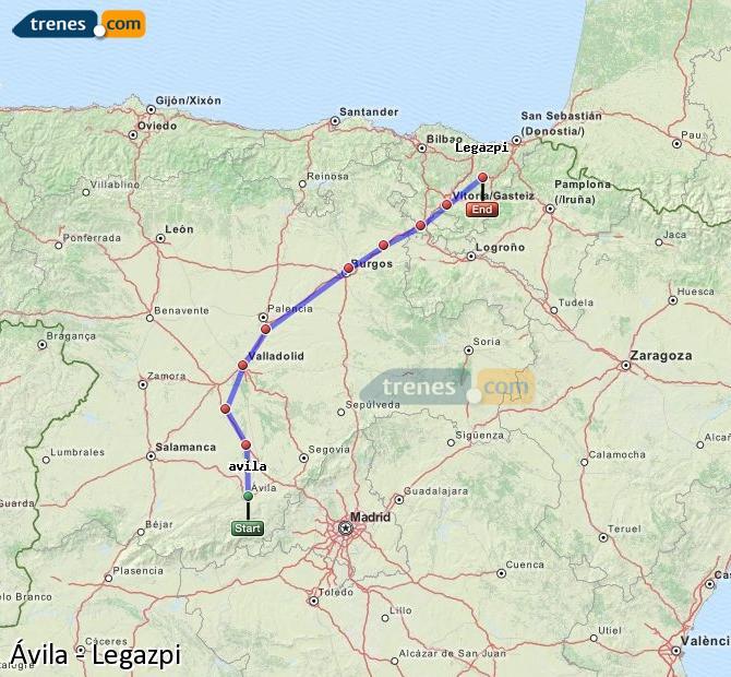 Karte vergrößern Züge Ávila Legazpi