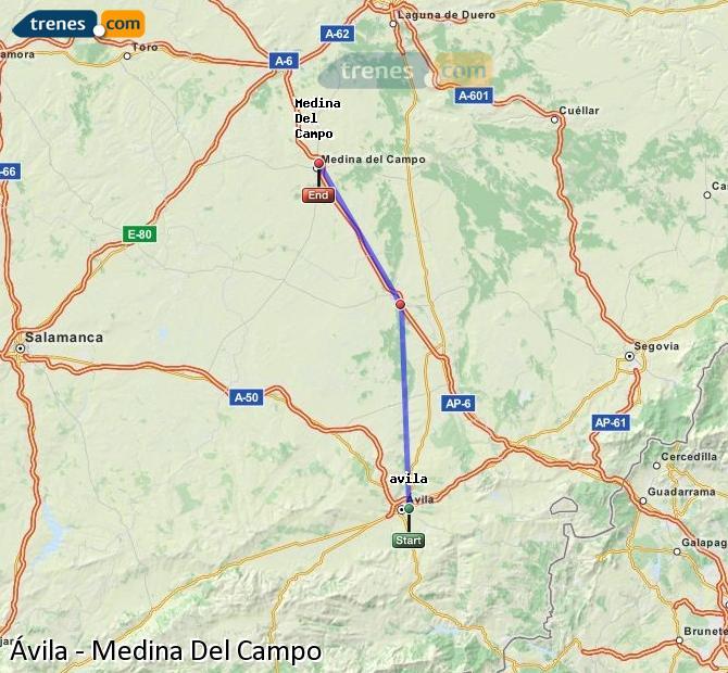 Agrandir la carte Trains Ávila Medina Del Campo