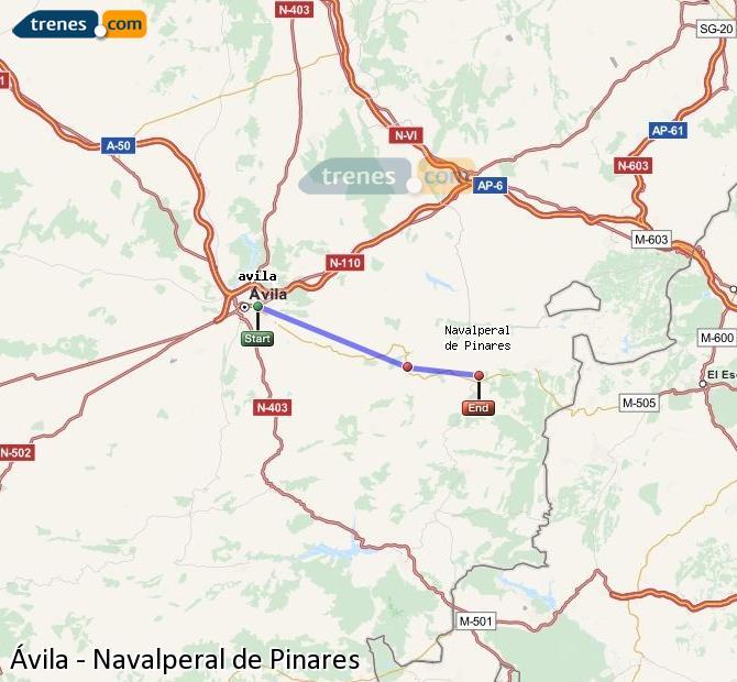 Agrandir la carte Trains Ávila Navalperal de Pinares