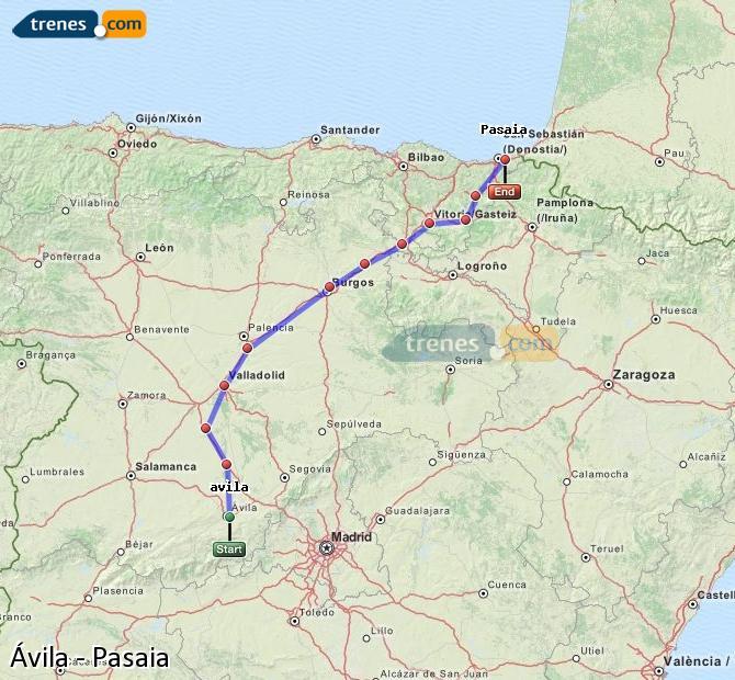 Karte vergrößern Züge Ávila Pasaia