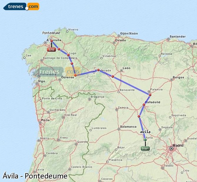Enlarge map Trains Avila to Pontedeume