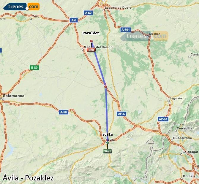 Karte vergrößern Züge Ávila Pozaldez
