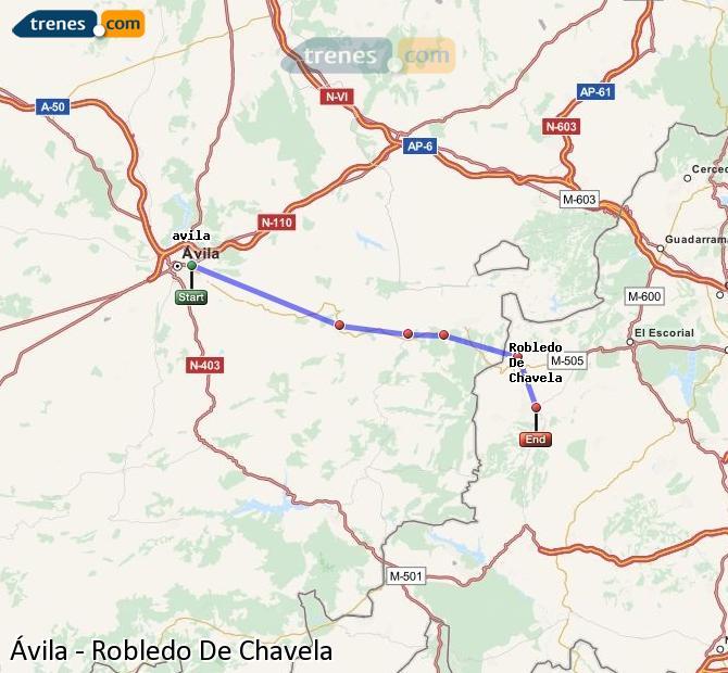 Ingrandisci la mappa Treni Ávila Robledo De Chavela