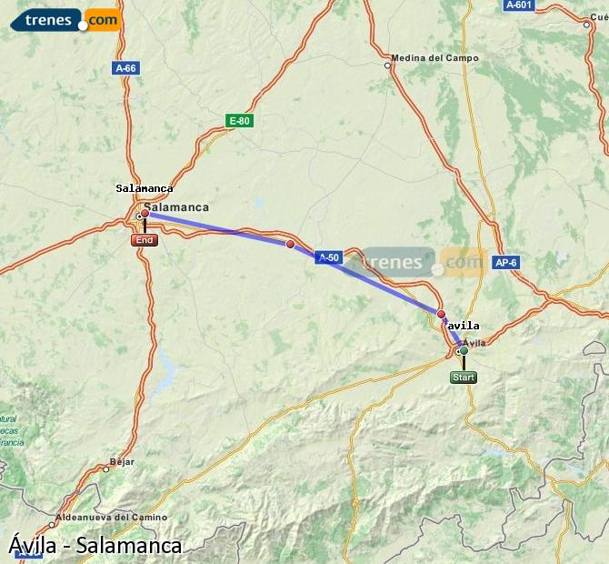 Enlarge map Trains Avila to Salamanca