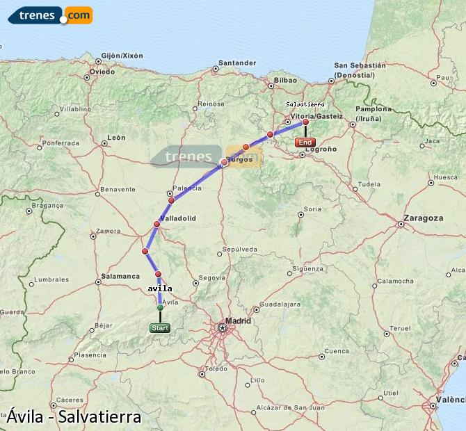 Ampliar mapa Comboios Ávila Salvatierra