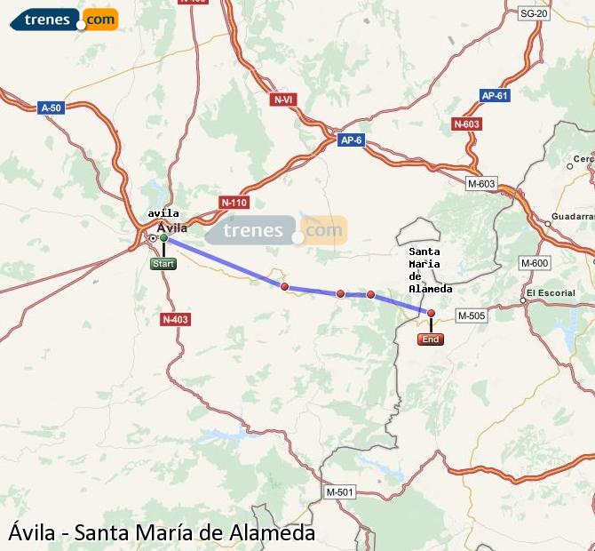 Karte vergrößern Züge Ávila Santa María de Alameda