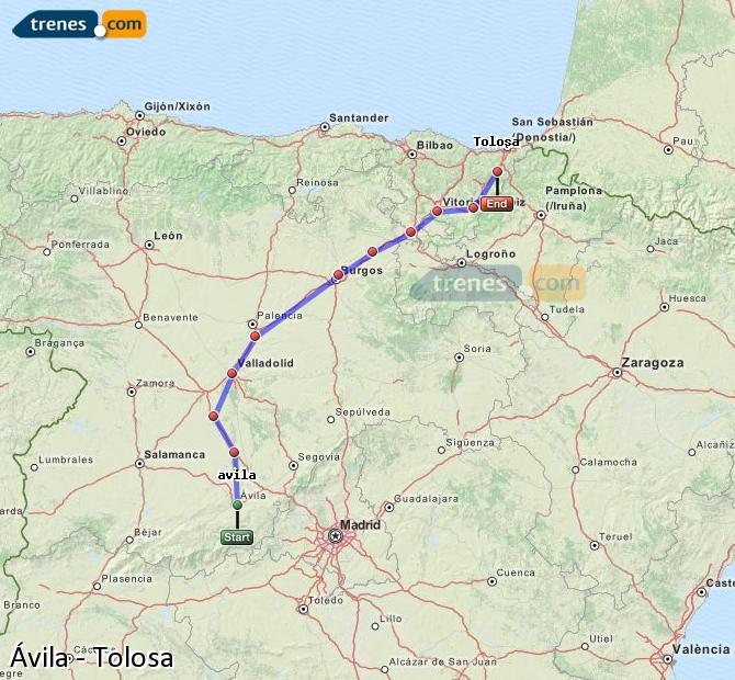 Agrandir la carte Trains Ávila Tolosa