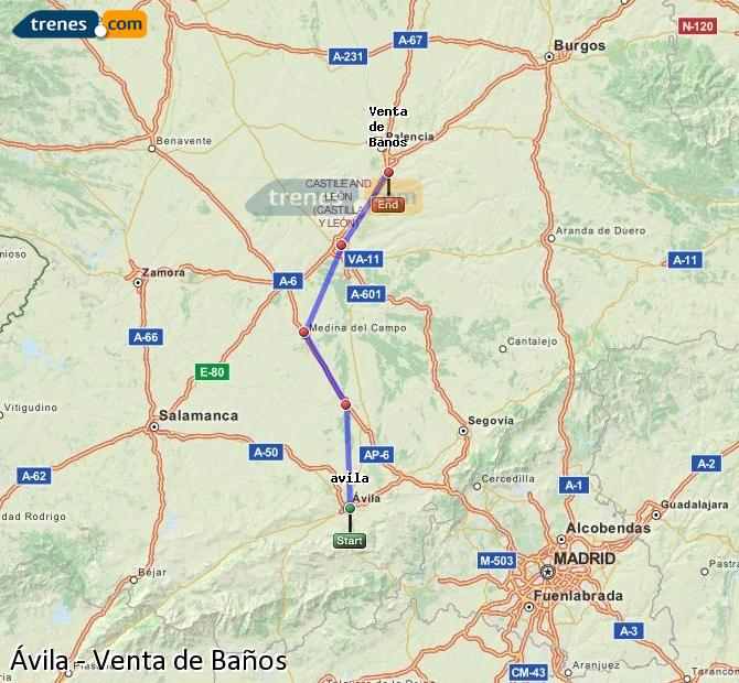 Enlarge map Trains Avila to Venta de Baños