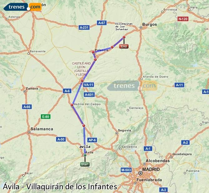 Karte vergrößern Züge Ávila Villaquirán de los Infantes