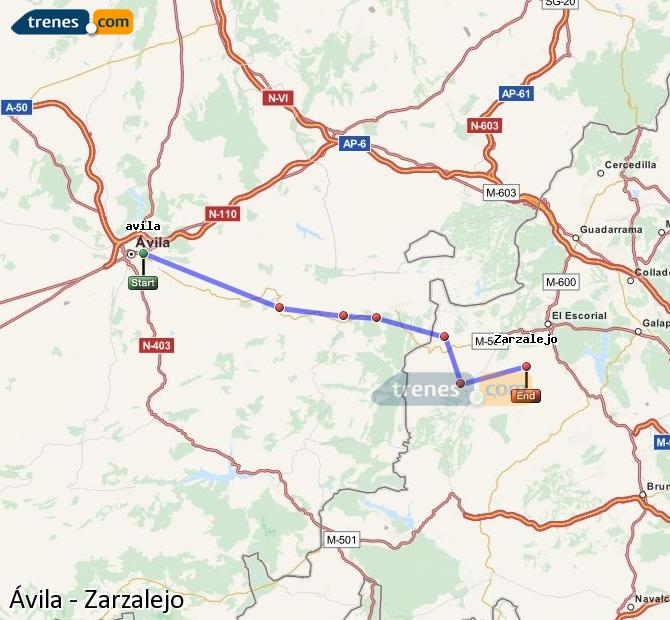 Agrandir la carte Trains Ávila Zarzalejo