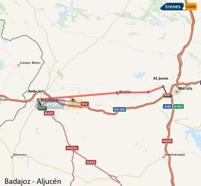 Karte vergrößern Züge Badajoz Aljucén