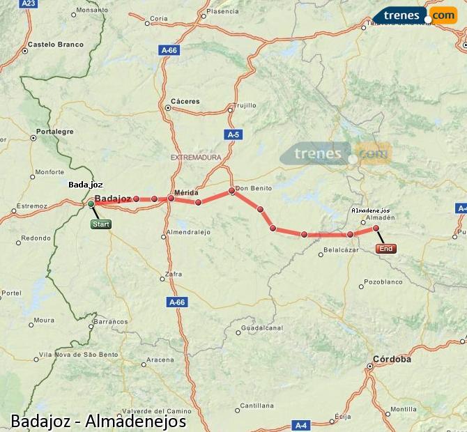 Ampliar mapa Comboios Badajoz Almadenejos