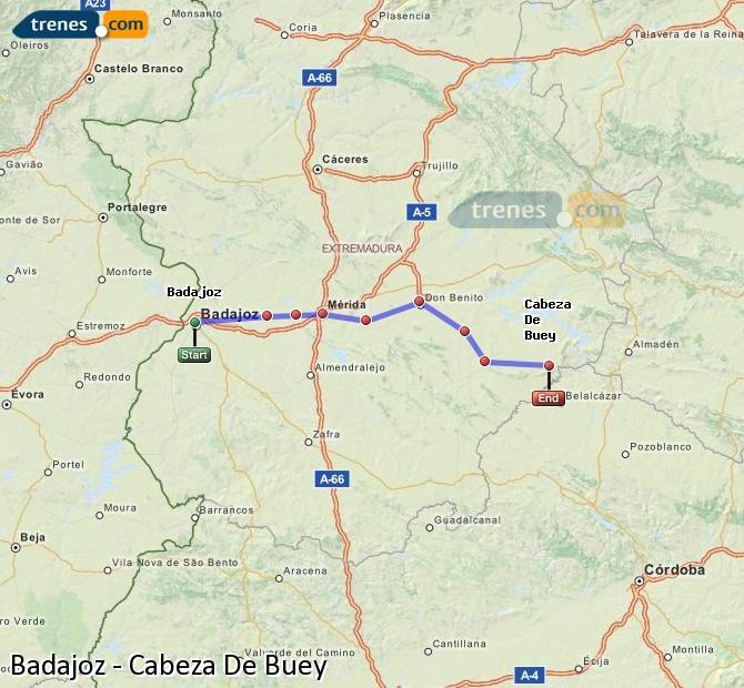 Ingrandisci la mappa Treni Badajoz Cabeza De Buey