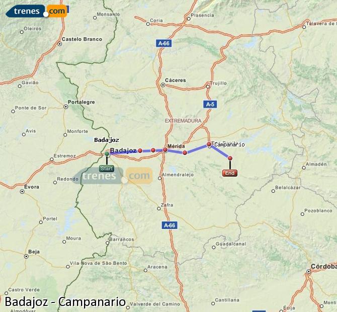 Ingrandisci la mappa Treni Badajoz Campanario