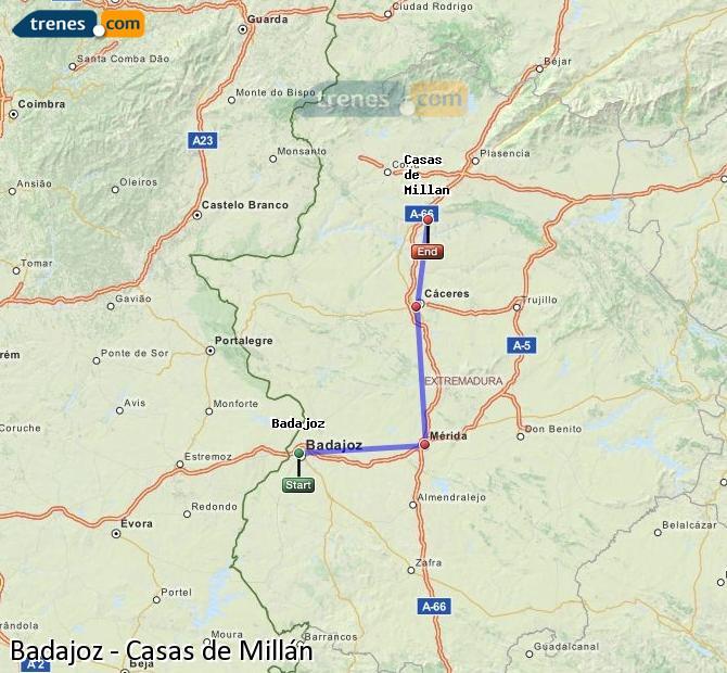 Ampliar mapa Comboios Badajoz Casas de Millán