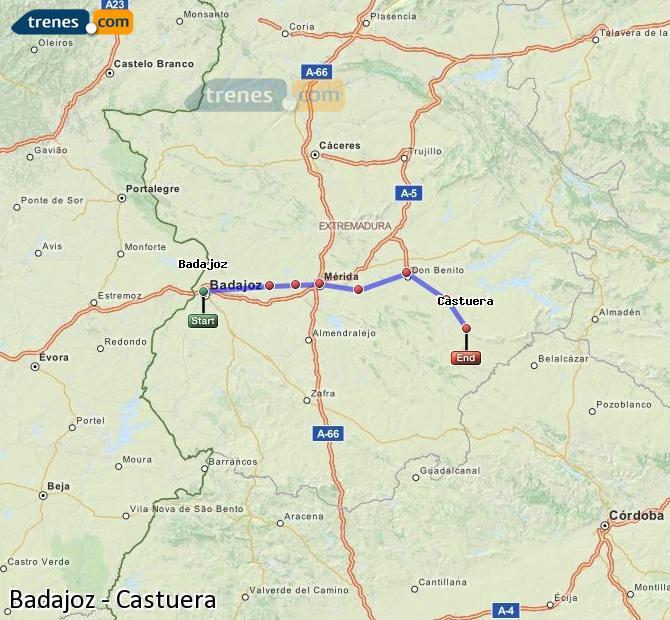 Ampliar mapa Comboios Badajoz Castuera