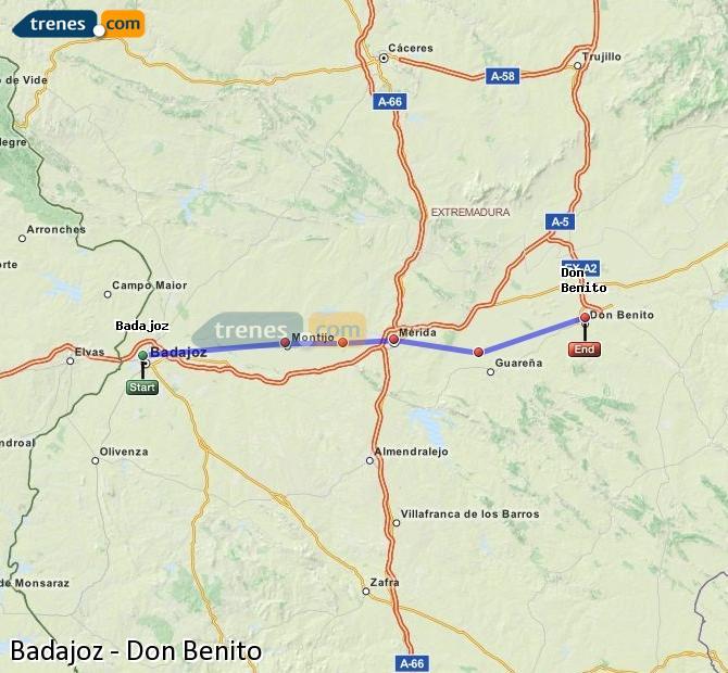 Ampliar mapa Trenes Badajoz Don Benito