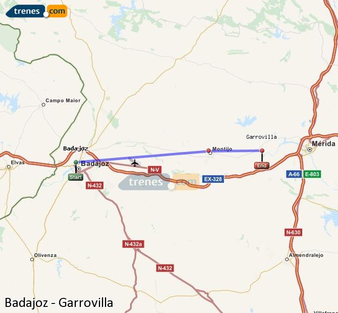 Ampliar mapa Trenes Badajoz Garrovilla