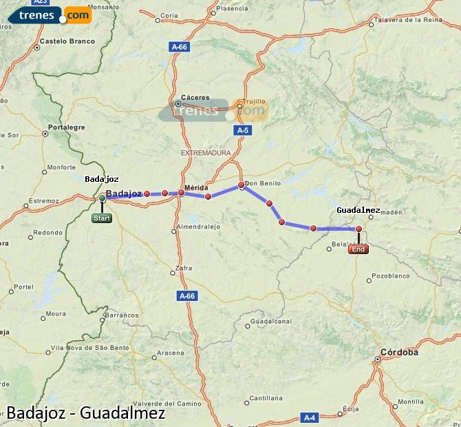 Ampliar mapa Comboios Badajoz Guadalmez