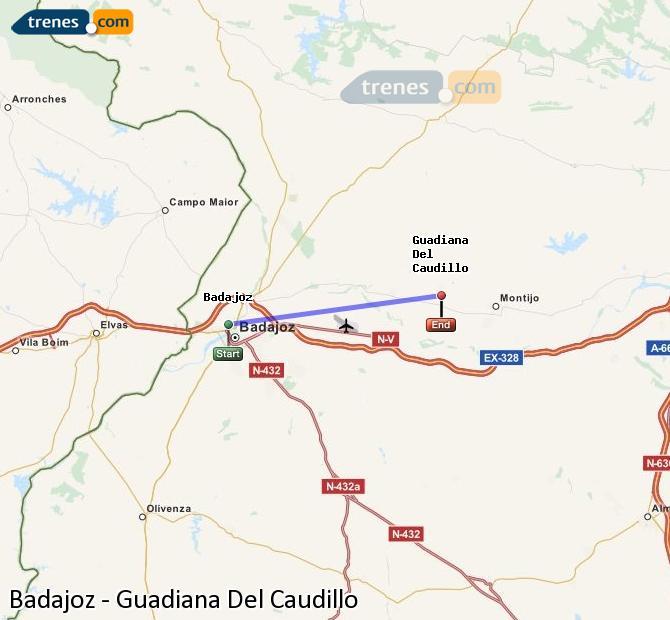Ingrandisci la mappa Treni Badajoz Guadiana Del Caudillo