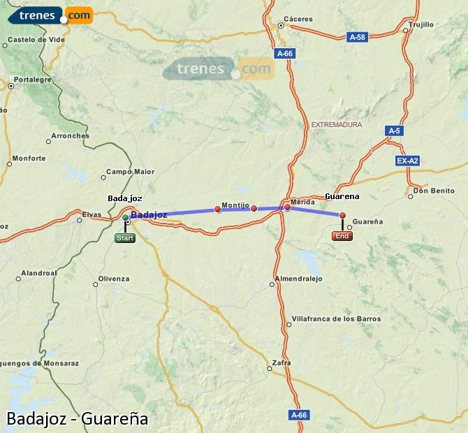 Agrandir la carte Trains Badajoz Guareña