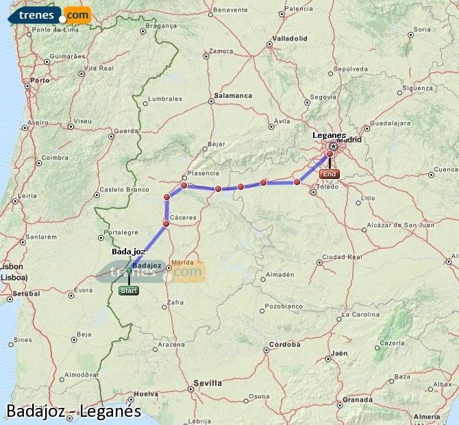 Ampliar mapa Trenes Badajoz Leganés